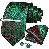 DiBanGu - Juego de gemelos cuadrados de pañuelo de seda con estampado floral Verde Rojo Verde 150