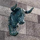 Nuokix Decoración Estatua de la escultura estatuilla figurilla, Gancho de pared de bronce Cabeza de animal 3D vaca escultura Cabeza de simulación de resina artesanal artesanía Display Stand decoración
