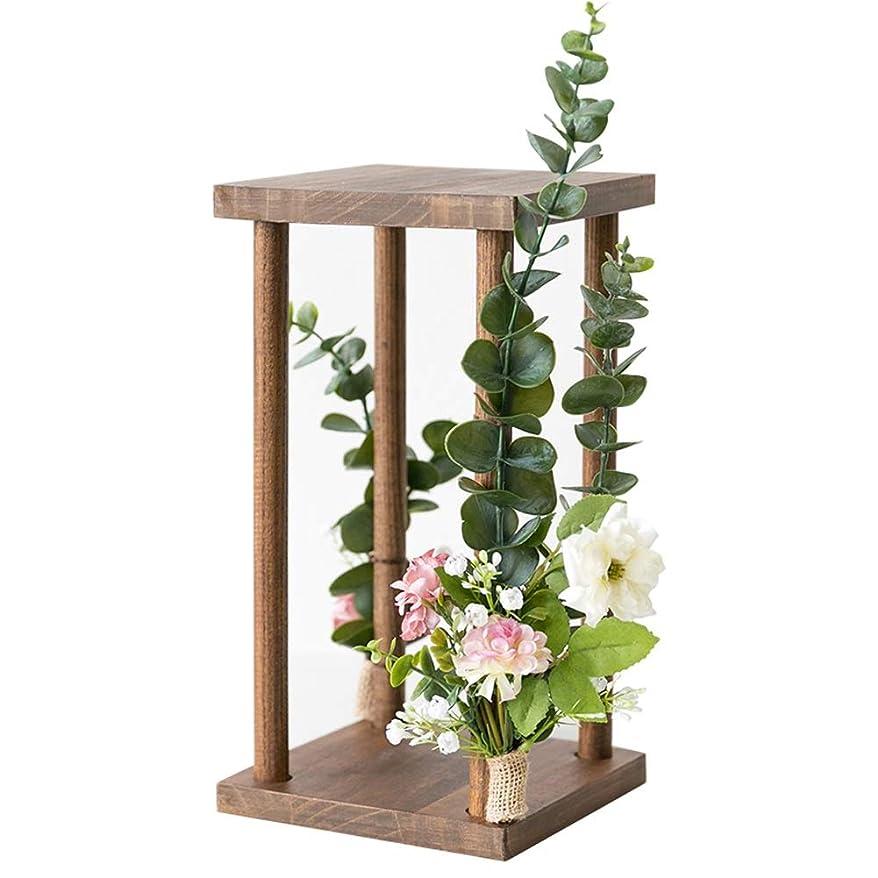 脅迫脈拍オークランド燭台 ローソク足木製ロマンチックなキャンドルデコレーションキャンドルシェルフ風のレトロな花柄の装飾