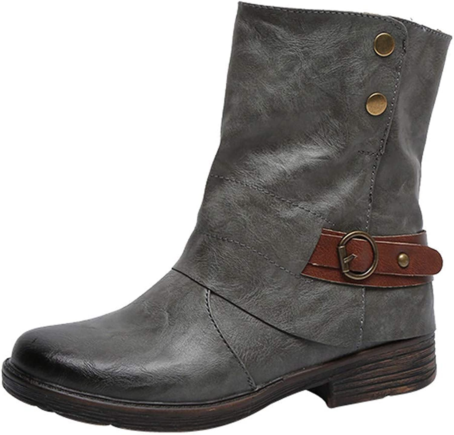 Vintage Women Leather Ankle Boots Square Heel Zipper Round Toe Martin Boots