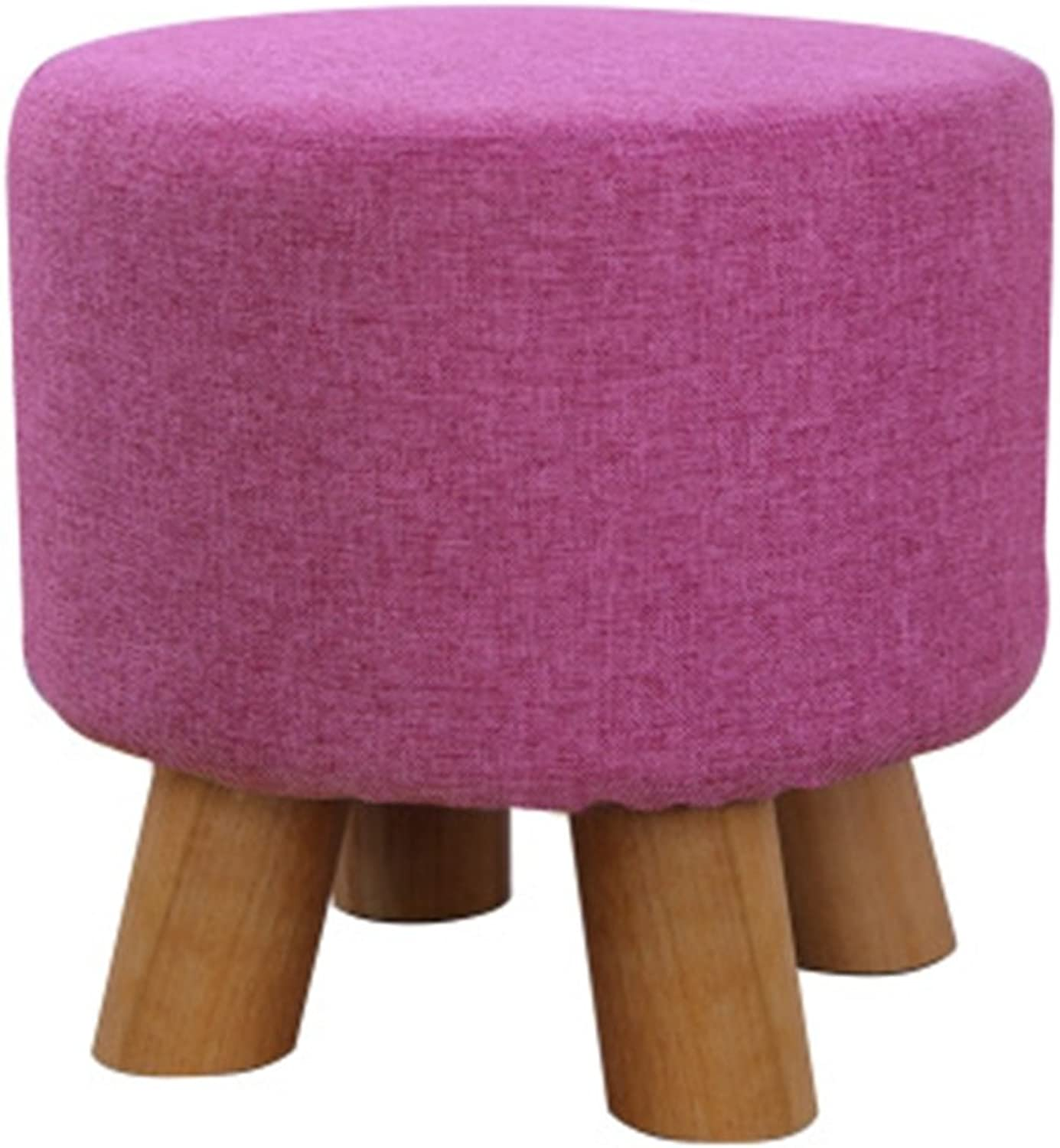 Upholstered Footstool Home Fashion Creative Fabric Sofa Small Stool Beech Multifunction Economic Cotton Linen Cover Removable and Washable Round Size  28cm × 29cm