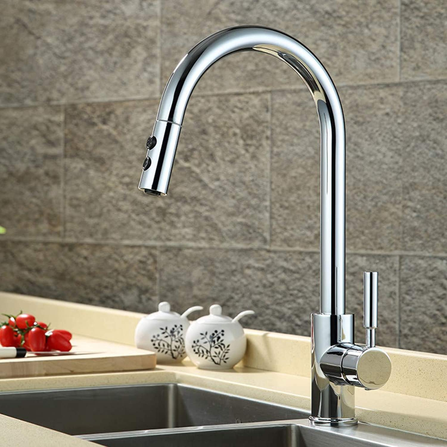 Kitchen Sink Sink Sink Sink Copper Pull redary Hot and Cold Faucet Chrome