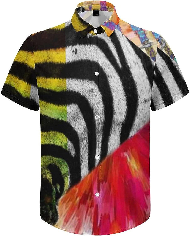 Men's Regular-Fit Short-Sleeve Printed Party Holiday Shirt Colorful Zebras Prints