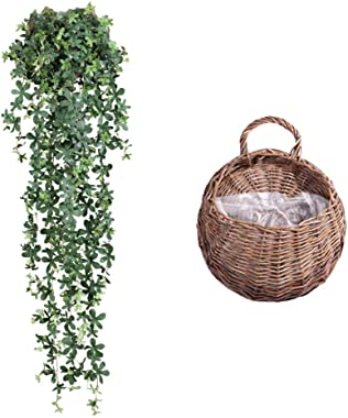 LAHappy Rtificial Rattan, 1 Pc Fake Greenery Plant Wall Hanging Decor Artificial Osier Rattans Plastic Bracketplant Plant Wal