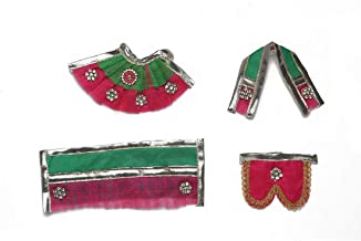 Green & Pink Laxmi Ganesh Dress poshak vastra Cloth Lehenga Chunari Dhoti Puja Item samgari Radha Krishna Dress for Statue...