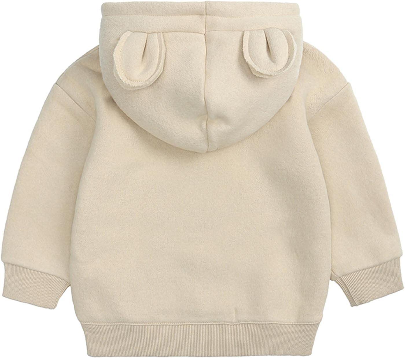 lkoezi Kids Hoodies-Big Children's Coats, Bear Ears Sweaters, Fleece Solid Color Tops Hoody Children Pullover Outerwear