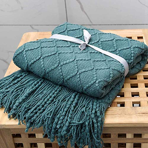 AMY-ZW Decorative Knit Bed Throw Blanket Microfiber Sofa Blankets Winter Warm Quilts For Couch Settee Chair Armchairs Travel Pushchair Xmas Gifts-Blue_170x127cm