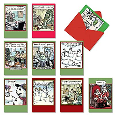 NobleWorks - 10 Assorted Funny Cards for Christmas - Cartoon Humor, Boxed Happy Holiday Notecards with Envelopes - NW_H_AC10_XS_XS_G_Cartoon