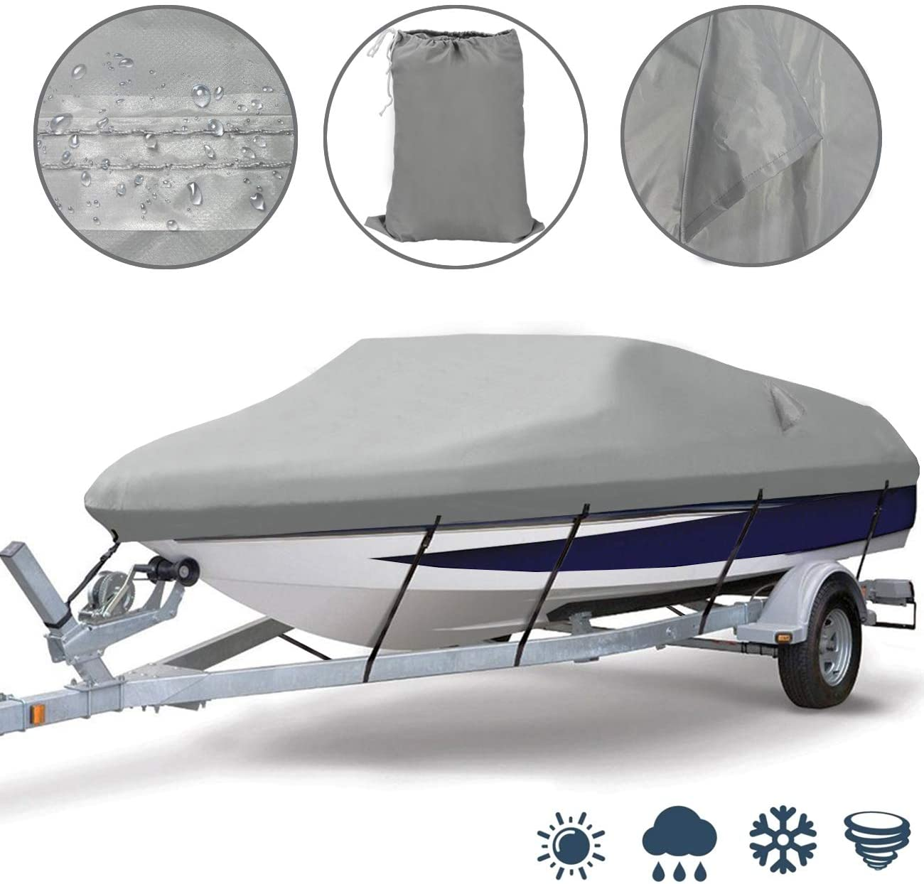 Ogrmar Heavy Duty Trailerable Waterproof Boat Cover with 2 Air V