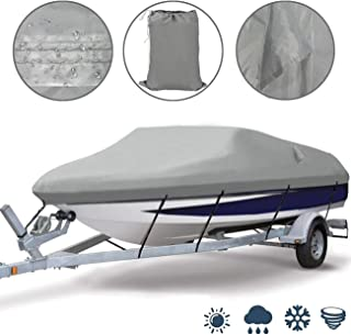 Ogrmar Heavy Duty Trailerable Waterproof Boat Cover with 2 Air Vent Marine Grade Polyester Boat Cover Fits V-Hull,Fishing ...