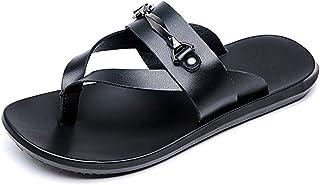 Z.L.FFLZ Men Sandals Men's Thong Flip Flops Beach Slippers Genuine Leather Non-slip Soft Sole Sandals sandals guess (Color...