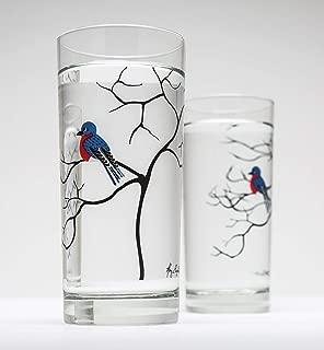 Bluebird Glassware Set of Two 16 oz Drinking Glasses, Bird Glasses, Bird Glassware, Bluebird Glasses