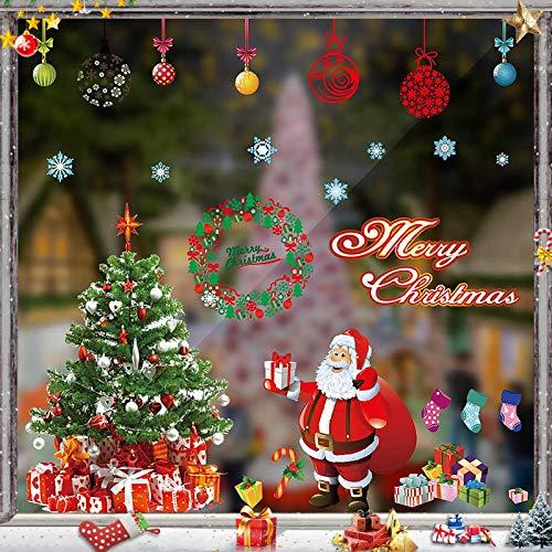 WeihnachtsdekoFenster,Fensterbilder Weihnachten,Schneeflocke Fensteraufkleber,PVC Fensterdeko Selbstklebend,Weihnachts Fenster Dekoration,Aufklebe Weihnachtsmann,Schneeflocken Fenster,Fenstersticker