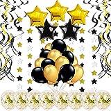 Decoracion Fiesta Oro -46 Piezas- Globos Confeti, Remolinos Colgantes, Guirnalda de Estrellas, Globos Negro Dorado para Cumpleaños