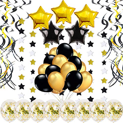 Gold Birthday Decoration – 46 pcs – with Confetti Balloons, Swirls, Star Foil Balloons, Star Garlands, Gold and Black Balloons for Grauation Party