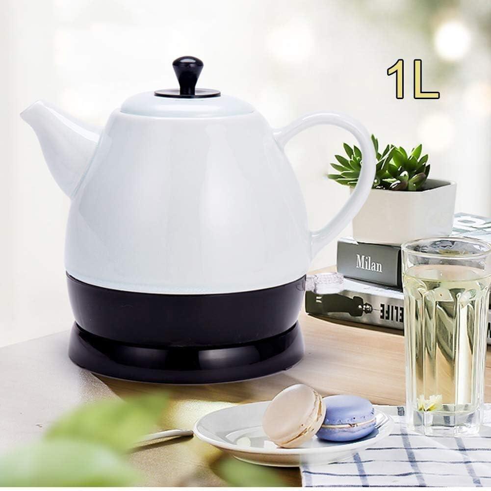 Leilims Bouilloires en céramique Bouilloire électrique sans Fil Eau Teapot, Teapot-Retro 1L Jug Rapide (Color : Red) White