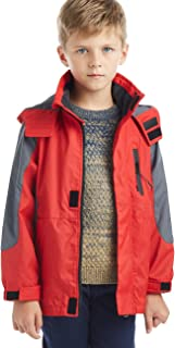 BYCR Boys' Hooded Lightweight Windproof Rain Jacket Coat Kids Age 5-16 Years