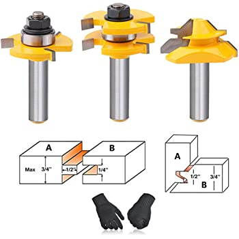 Solid Steel PEALIFE Tongue and Groove Router Bits Tool Set 1//2 Inch Shank+45/° Lock Miter Bit 1//2 Inch Shank-3 Pcs Home DIY Woodwork Shelves Walls Tables Doors Anti Kickback Design For CNC