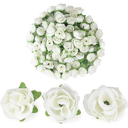 144x Edle Kunstblumen Rosen Weiß Offen HOCHZEIT für Autoschmuck Dekoration,Deko