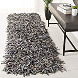 Safavieh Leather Shag Collection LSG601G Hand-Knotted Grey and Beige Decorative Runner (2' x 8')