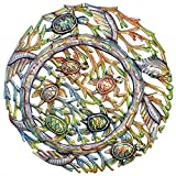Global Crafts 24' Recycled Hand-Painted Haitian Metal Wall Art Sea Life, Turtles