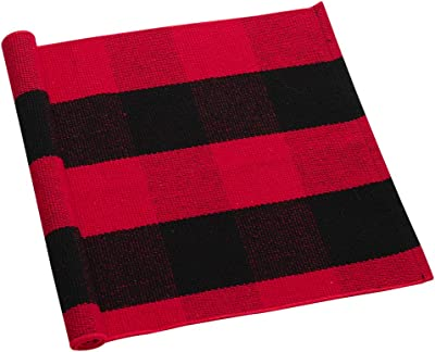uxcell Cotton Plaid Area Floor Rugs Carpet Indoor Outdoor, Woven Washable Buffalo Checkered Mat Rugs, Retro Doormat Runner Rug for Front Porch Black and Red 27.6 X17.7 Inches
