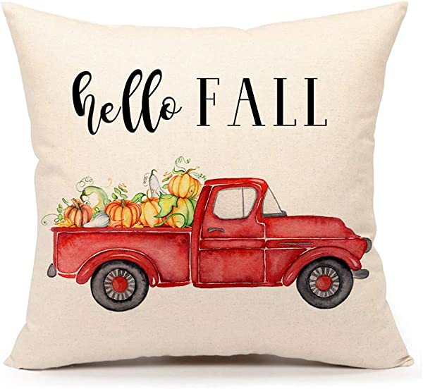 第四情感你好秋季卡车抱枕套农家乐沙发秋季靠垫套 18x18 英寸棉麻