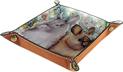 レザーバレットトレイ多目的 収納ボックストレイオーガナイザー小さなアクセサリーの収納に使用,蝶の花ウサギ