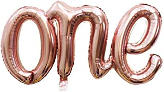 """42 Inch Letter Conjoined Balloons""""ONE"""" Happy Birthday/1 Anniversary For Baby Boy/Girl/Any festival Balloons Rose Gold Baby..."""