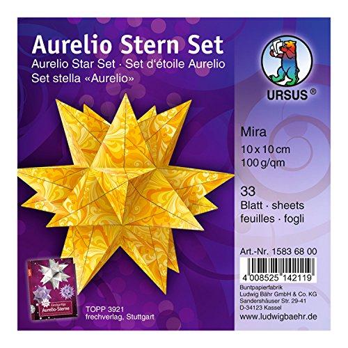 Ursus 15836800 - Faltblätter Aurelio Stern Mira, orange / gelb, 33 Blatt, aus Papier 100 g/qm, ca. 10 x 10 cm, beidseitig bedruckt, ideal als Weihnachtsdeko