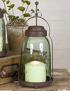 Half Gallon Mason Jar Butler Lantern- Metal Lantern Candle Holder, Rustic Indoor/Outdoor Light for Your Home Decor - Modern Rustic Vintage Farmhouse Style
