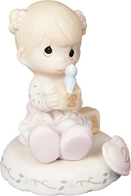 Precious Moments Growing in Grace Age 2 Bisque Porcelain Figurine Blonde Girl 142011
