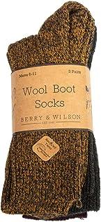 Berry & Wilson, 3 pares de calcetines cómodos de lana para hombre