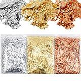 Chstarina 3 Paquetes Copos Dorados,Papel de Oro Pan de Oro Copos Manualidades Obras de Arte y Material Decorativo De Lámina Metálica Dorada De Imitación Para Arte De Resina,Foil para uñas