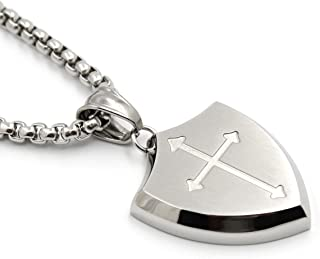 Mens Shield Armor of God Joshua 1:9b,Faith Cross Stainless Steel Pendant Necklace