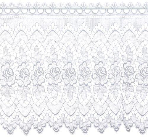 Plauener Spitze by Modespitze, Store Bistro Gardine Scheibengardine mit Stangendurchzug, hochwertige Stickerei, Höhe 60 cm, Breite 112 cm, Weiß