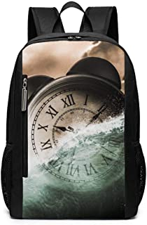Alarm Clock Abstract Ocean Outdoor Travel Laptop Backpack Travel Accessories, Fashionable Backpack Suitable for 17 Inches