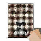 dot on art Löwe DIY Poster - 30 x 40 cm – Bastelset für Kinder und Erwachsene - Bilder mit Klebepunkten - Stickerset Mosaik Set - Aufkleber Basteln Selbermachen DIY