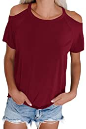 Onegirl Womens Casual Cold Shoulder Short Sleeve Tilted Collar T Shirts Loose Swing Tunic Tops Blouse