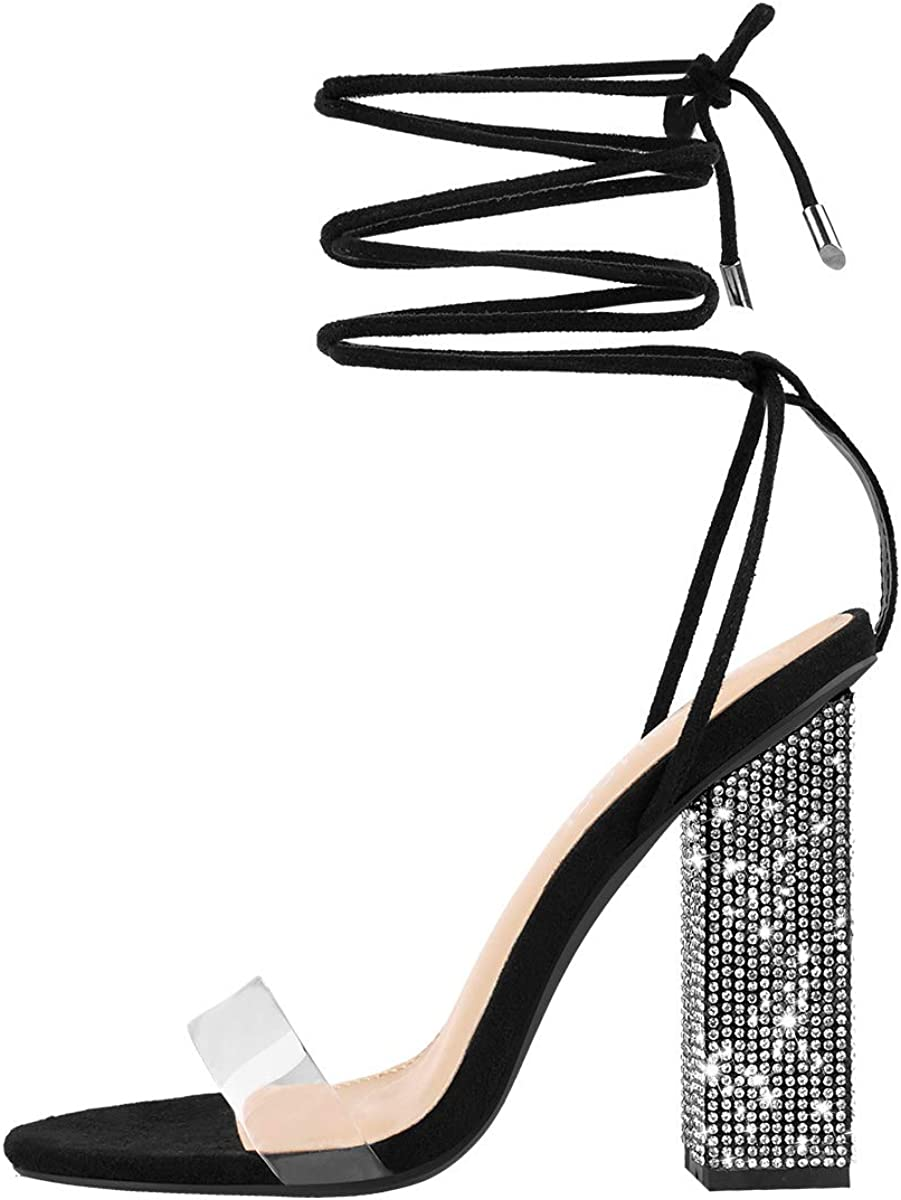 Opening large release sale MissHeel Large special price Rhinestone Chunky Heel Sandals Lace Up