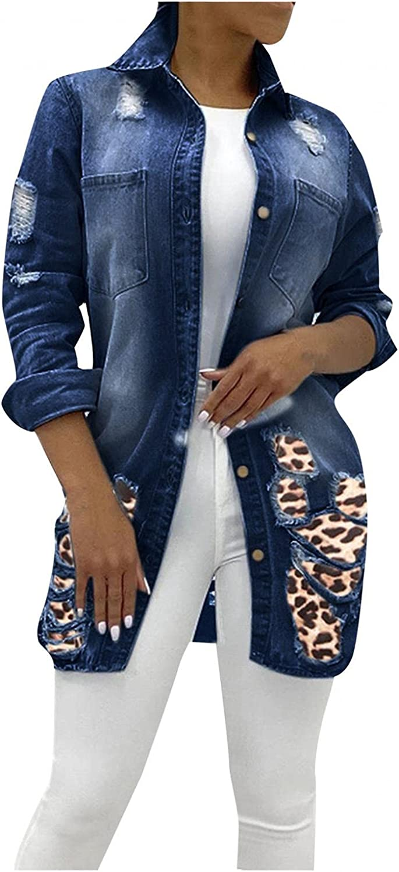 Women Ripped Denim Jakcet Leopard Mid Long Jean Jacket Long Slevee Oversized Distressed Cropped Trucker Jean Coat