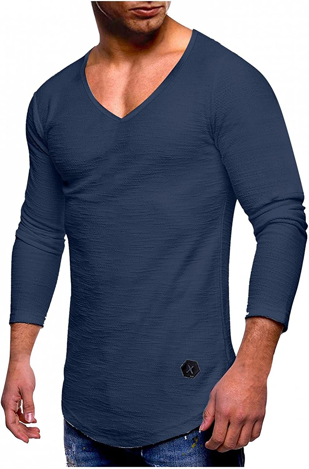 Mens Pullover Tops Solid Long Sleeve V-Neck Shirts Soft Comfy Cotton Blouse Gym Workout Quick-Dry T Shirts Muscle Top