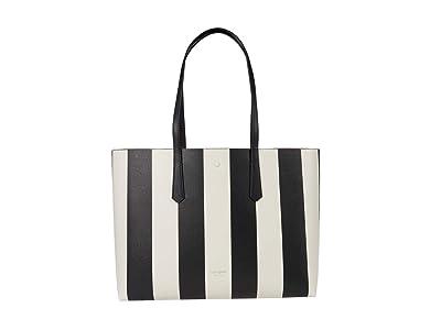 Kate Spade New York Molly Stripe Large Tote (Black Multi) Handbags