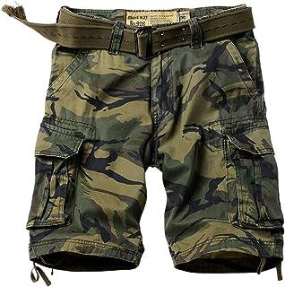 """HZKLFS Men's Twill Cargo Shorts Camo Multi Pocket Shorts 11"""" Inseams"""