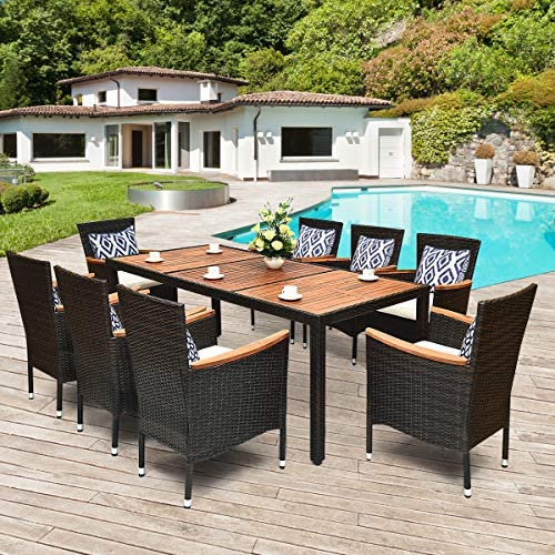 Tangkula 9 Piece Outdoor Dining Set, Garden Patio Wicker Set w/Cushions, Patio Wicker Furniture Set with Acacia Wood Table and Stackable Armrest Chairs