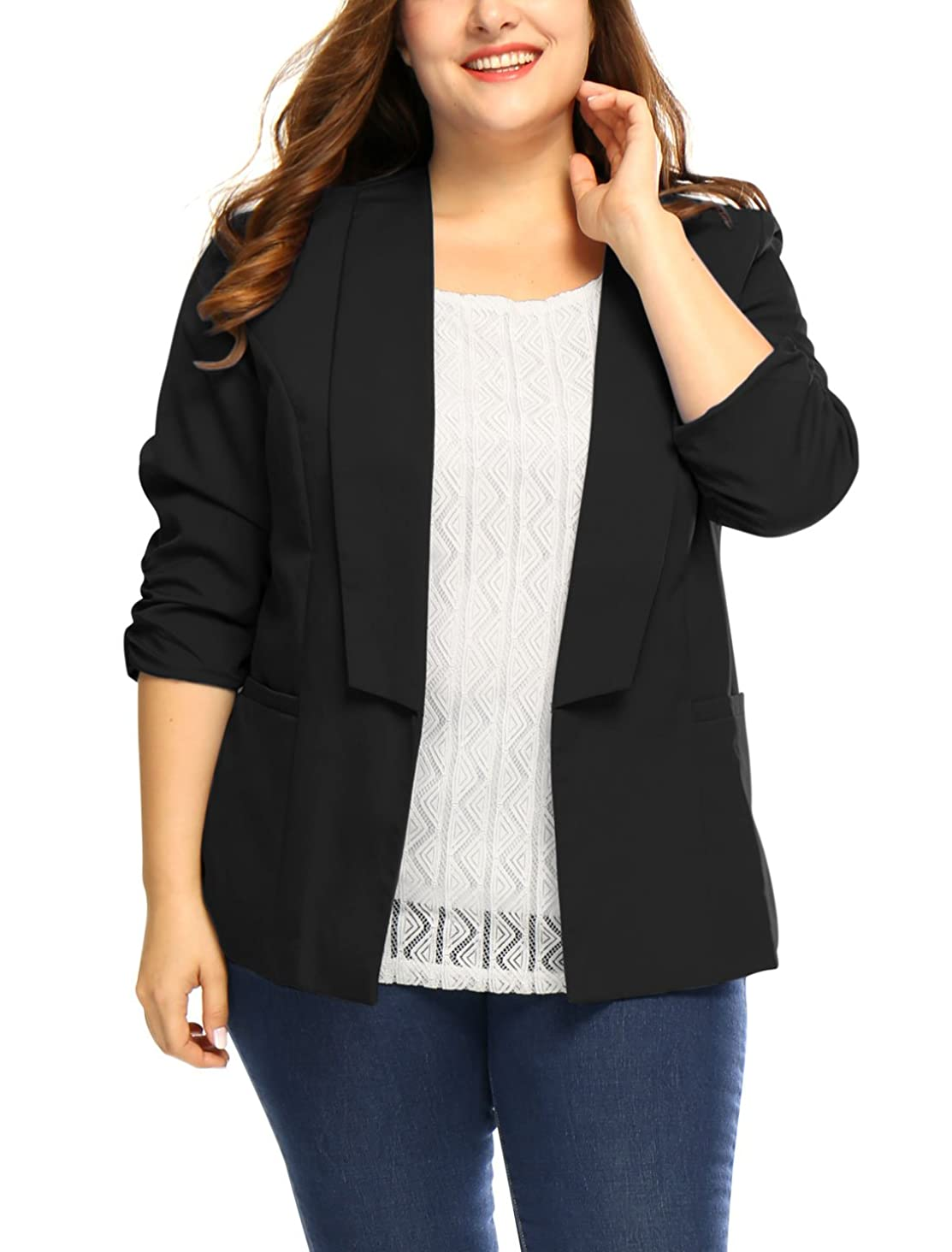 uxcell Women's Plus Size 3/4 Sleeves Shawl Collar Casual Blazer