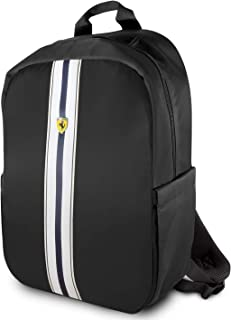 "Ferrari Pista Metal Logo On Track Backpack 15"" with Charging Cable - Black"