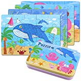 BBLIKE Jigsaw Wooden Puzzles Toy in a Box for Kids, Pack of 4 with Varying Degree of Difficulty Educational Learning Tool Best Birthday Present for Boys Girls (Criaturas del Mar)