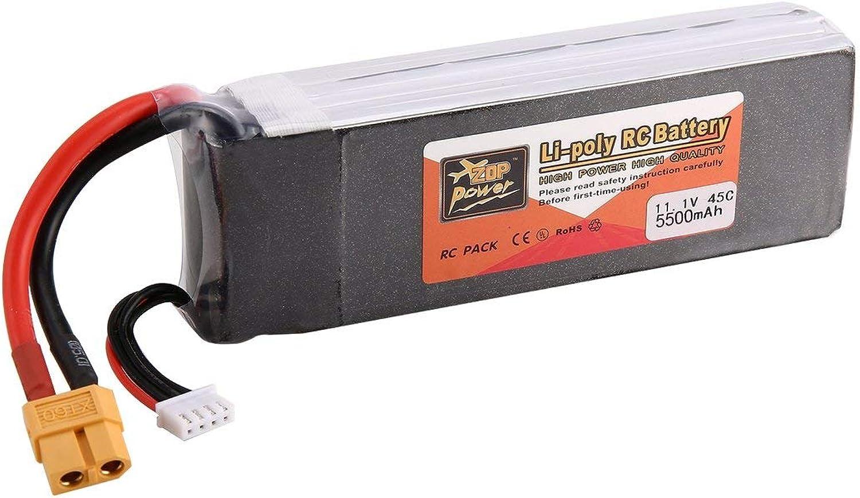 Zinniaya ZOP Power 11.1V 5500mAh 45C 3S 1P Lipo Battery XT60 Plug for RC Drone Car Boat
