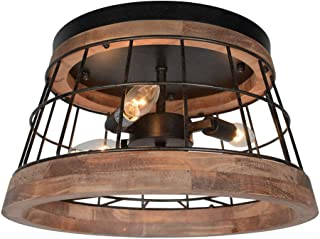 Baiwaiz Round Farmhouse Ceiling Lighting, Metal and Wood Rustic Ceiling Flush Mount Lights Industrial Wire Cage Lighting 3 Lights Edison E12 087
